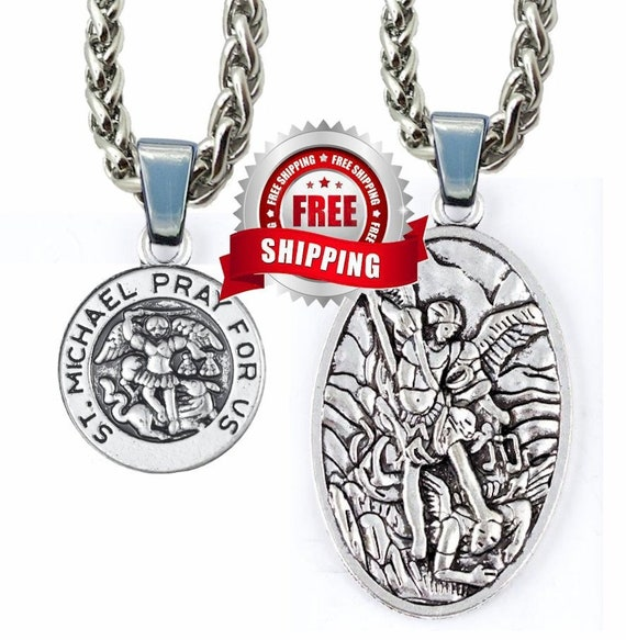 Cast Silver Saint Michael Medal St Michaels Medal Medallion 4mm Braided Chain Patron Saint Police Officers Soldiers - Saint Michaels Jewelry