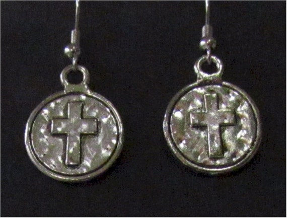 Stunning Silver Cast Round Ancient World Prayer Cross Earrings Necklace Pendant Set Womans Girls Wedding Christian Jewelry
