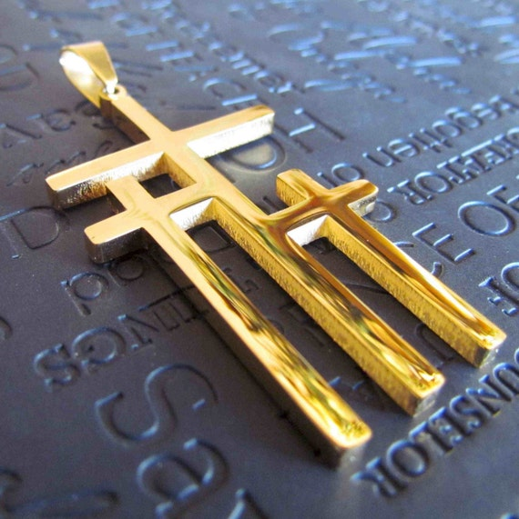 Large Gold Calvary 3 Three Triple Cross Necklace Pendant Stainless Steel Chain Mens Boys Christian Jewelry Three Crosses on Calvary