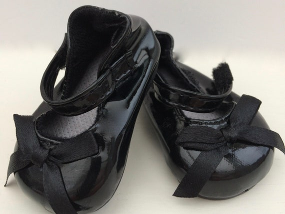 Black Patent Mary Janes with Flower Trim Fits 18 inch American Girl Dolls