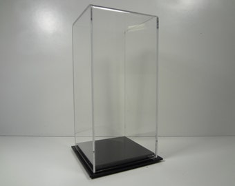 """Doll figurine acrylic collectible display case 4 1/2"""" x 4 1/2"""" x 9 1/2"""" inside dimension with black or clear acrylic base"""
