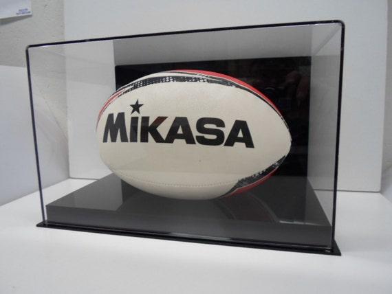 Rugby Ball  Acryl-Vitrine mit einer Auswahl von Basis Stile