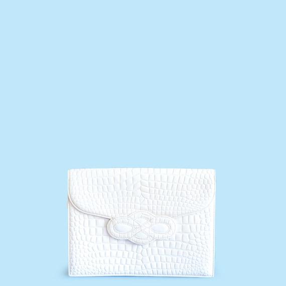Vintage Yves Saint Laurent white clutch bag