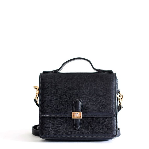 Courreges black leather crossbody bag