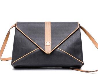 1980s Balenciaga black leather shoulder bag
