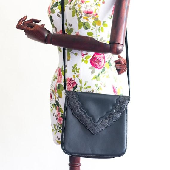 Vintage YSL black leather crossbody bag