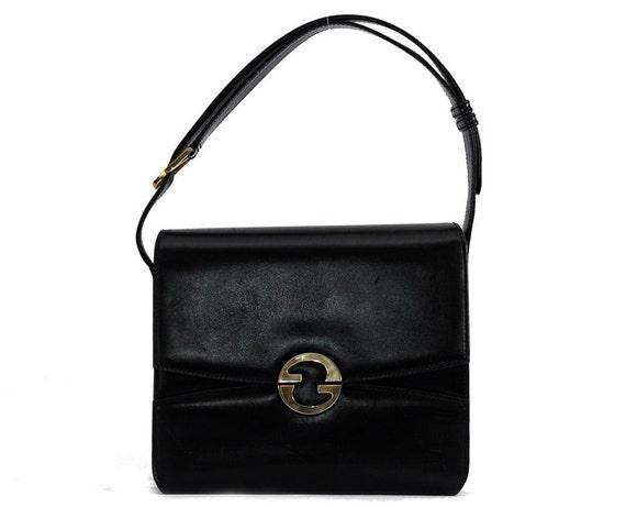 1809af1b833 Vintage Gucci bag   black leather shoulder bag   Etsy
