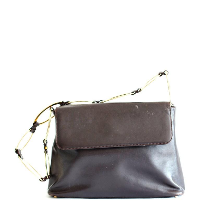 886418ffff66 Vintage Gucci brown leather shoulder bag   Etsy