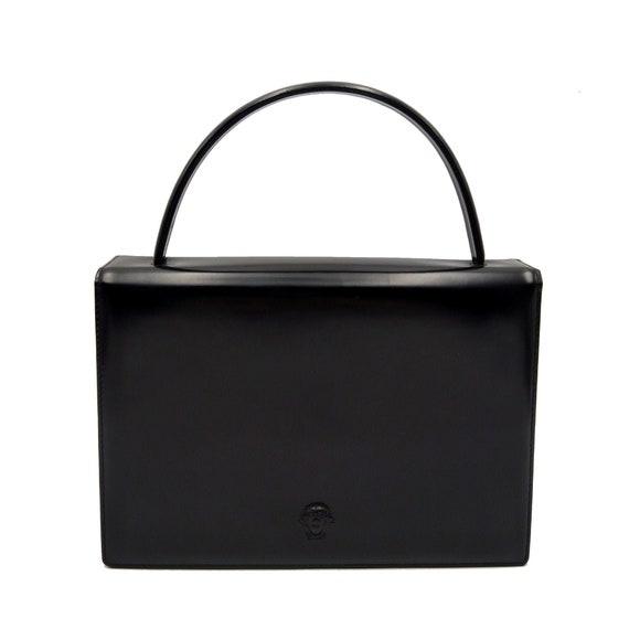 Authentic GIANNI VERSACE boxy black leather handba