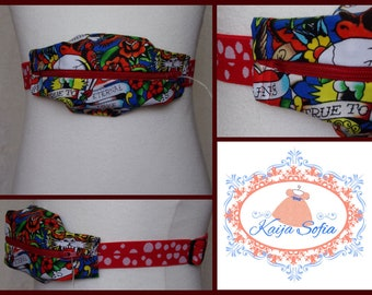 Skulls and scrolls insulin pump belt with red and white spotty elastic.  Size 2.