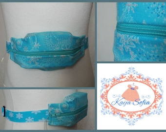 Turquoise glitter snowflakes insulin pump belt with turquoise and white snowflake elastic.  Size 1.