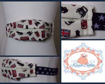 London print insulin pump belt with navy blue and white star elastic.  Size 1.