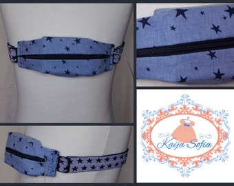 Pale blue denim stars insulin pump belt with navy and white star elastic.  Size 3.