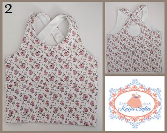 Insulin pump crop top to fit approximately age 2.  White with small pink flowers.