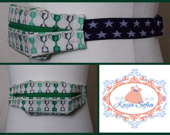 Green trophies insulin pump belt with navy and white stars elastic.  Size 1.