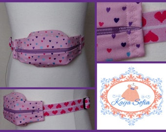 Hearts on pink insulin pump belt with pink and white heart elastic.  Size 2.