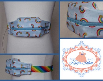 Rainbows on blue insulin pump belt with rainbow stripe elastic.  Size 1.