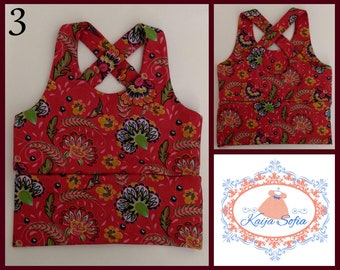 Insulin pump crop top to fit approximately age 3.  Red floral fabric.