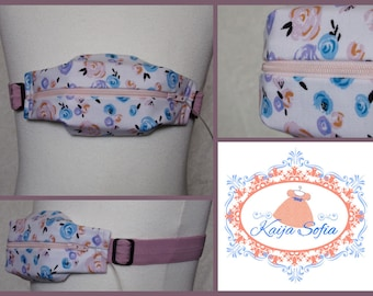 Pastel roses on white fabric insulin pump belt with dusty pink elastic.  Size 3.