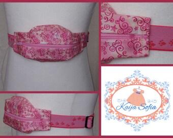 Swirls on pink insulin pump belt with pink pawprints elastic.  Size 2.
