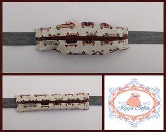 Cars on brown insulin pump belt with grey elastic.  Size 3.