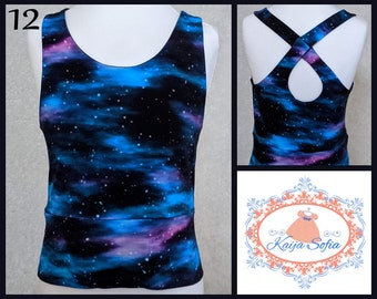 Insulin pump crop top to fit approximately age 12.  Galaxy print fabric.