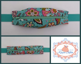 Turquoise floral insulin pump belt with turquoise elastic.  Size 3.  *REDUCED due to stiff zip.*