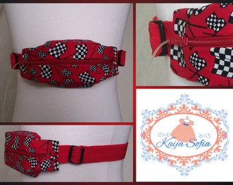 Insulin pump belt in red race flag fabric with red elastic.  Size 3.