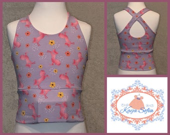 Insulin pump crop top to fit approximately age 8.  Lilac, with pink unicorns and pink and yellow flowers.