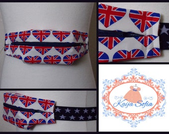 UK flag hearts insulin pump belt with navy and white stars elastic. Size 1 (age 2 - approximately age 9).