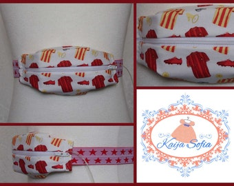 Red and yellow football shirts insulin pump belt with red and white star elastic.  Size 2.