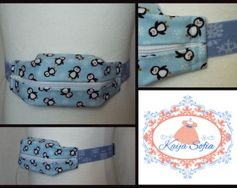 Penguins and snowflakes insulin pump belt with blue snowflake elastic.  Size 1.