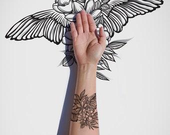 Bloom & Fly / Adventure / Wings / Flowers / Vintage / Nature / Spring / Freedom / Dream / Tattoo Design / Black Ink / Digital Download