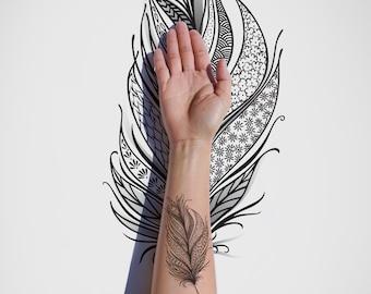 Freedom Feather / Adventure / Wings / Flowers / Vintage / Nature / Spring / Oriental / Dream / Tattoo Design / Black Ink / Digital Download