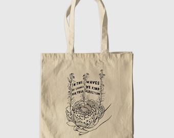 True Direction Lettering Motivational Quote | Canvas Shoulder Tote Bag | Reusable Shopping Bag