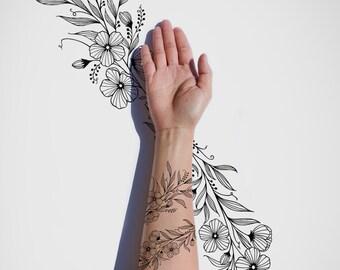 Flower Wrap Around / Greenery / Nature / Spring / Vintage / Black & White Tattoo Design / Black Ink / Line Art / Body Art / Digital Download