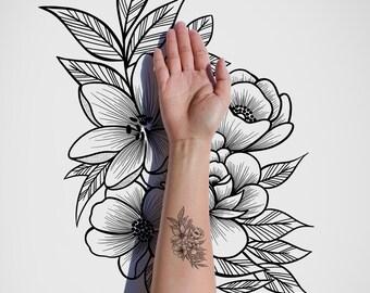 Flowers / Floral / Vintage / Nature / Black & White Tattoo Design / Black Ink / Art Print / Line Art / Body Art / Digital Download