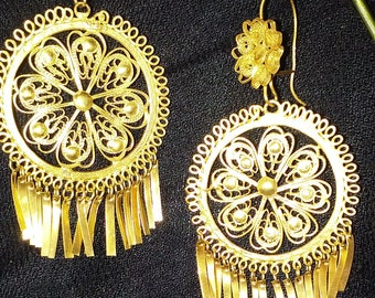 Traditional, handcrafted, vintage, artisan, filigree, chandelier earrings. STYLE 9
