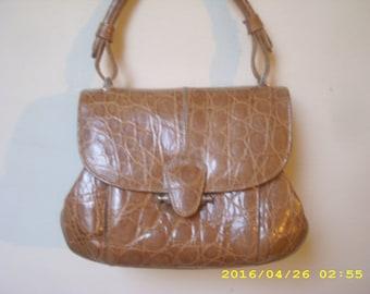 New! Cute handbag Locati italy in light camel leather with crocodil effect for wedding