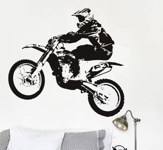 Motorcross Vinyl Wall Decal Sticker Dirt Bike Boys Bedroom Gear MX Decor