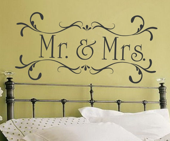 mr and mrs wall decal couple wall decal husband and wife decal | etsy