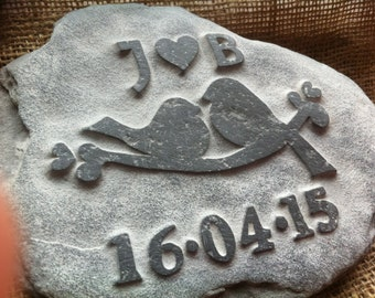 Love Birds carved stone personalised w// initials perfect wedding anniversary