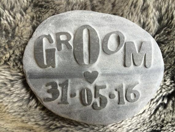 Handcarved Penguin pebble LOVE Personalised bespoke wedding anniversary Gift