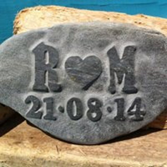 a gift for a wedding or anniversary bespoke handmade, Love PEBBLE with initials carved into the stone along with a date