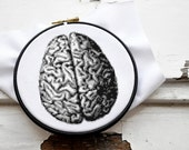 Modern cross stitch pattern ANATOMICAL BRAIN in 2 sizes, black and white counted cross stich diy project, antique organ embroidery gobelin