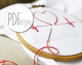 Modern cross stich pattern heart HEARTBEAT love valentines cross stitch design, hand embroidery in the hoop wall art, xstitch xstich love