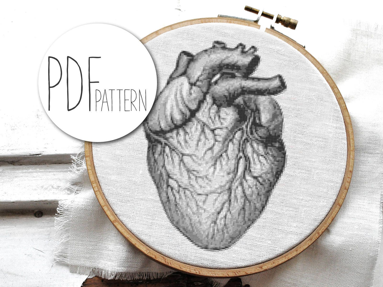VINTAGE HEART cross stitch pattern in 2 sizes - large black and ...