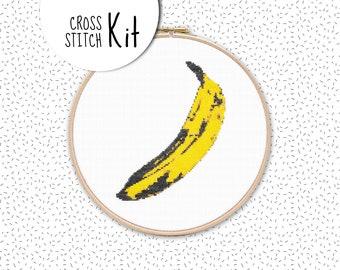 POP ART BANANA . Cross stitch kit . modern hand embroidery kit . fruity needlework & tapestry kit . dmc floss fiber art kit