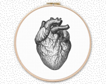VINTAGE HEART cross stitch pattern in 2 sizes - large black and white embroidery - anatomical human heart anatomy xstitch design
