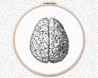 Modern cross stitch pattern . HUMAN BRAIN in 2 sizes . monochrome counted cross stich  project . DMC & Anchor colors embroidery chart